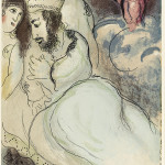 Marc Chagall. Sarah and Abimelech. Color lithograph, 1960, cm. 35,5 x 26,3. Bequest of Noah Chodos, New York, to American Friends of the Israel Museum