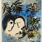 Marc Chagall. The Lovers, 1954-55. India ink, wash, and watercolor, cm. 53 x 47 Gift of Jan Mitchell, New York. Through the America-Israel Cultural Foundation