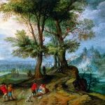 Jan Brueghel the Younger. Peasants Returning from the Market, 1630 ca. Oil on copper inserted in panel, cm. 12,7 × 15. Private collection, New York