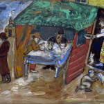 Marc Chagall. The Feast of Tabernacles (Sukkot), 1916. Gouache and watercolor on paper, cm. 522 x 665. Gift of Arnold and Dorothy Neustadter, Palm Beach to American Friends of the Israel Museum