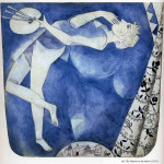 Marc Chagall. The painter to the moon, 1917. Gouache, cm. 32 x 30. Private Collection