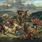 Eugène Delacroix. Lion Hunt, 1861. Oil on canvas, cm. 76 x 98. © The Art Institute of Chicago, Illinois Potter Palmer Collection