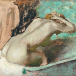 Edgar Degas. Woman seated on the edge of a bath sponging her neck, c. 1880–95. Oil and essence on paper on canvas. Orsay Museum, Paris